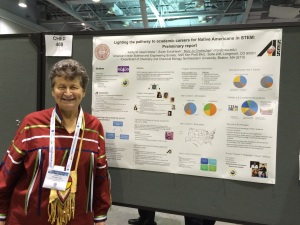Mary Jo Ondrechen in front of her poster.